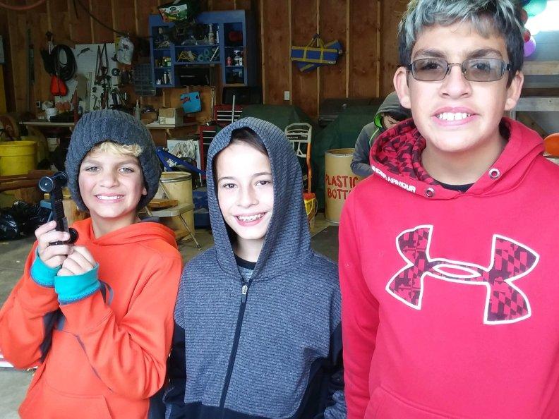 Boys at a camping trip
